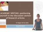 Learning English - Academic Writing - positioning yourself in the discussion section of Research articles