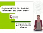 Learning English - Articles - 'Definite', 'Indefinite' and 'zero article'